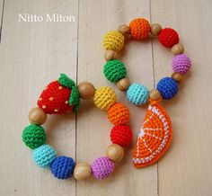 Crochet teething ring Toddler gift Rainbow Crochet by NittoMiton
