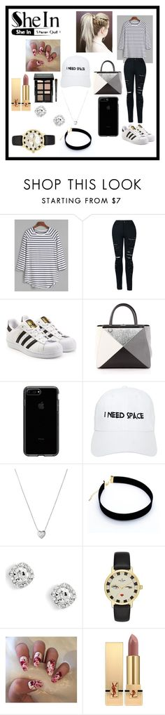"""Contrast Striped T-shirt"" by caitlynpatterson145 ❤ liked on Polyvore featuring adidas Originals, Fendi, Nasaseasons, Links of London, Kate Spade, Yves Saint Laurent, Bobbi Brown Cosmetics and striped"