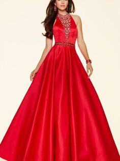 2016 A-line Red Satin Prom Dress Formal Dress Parai 98135