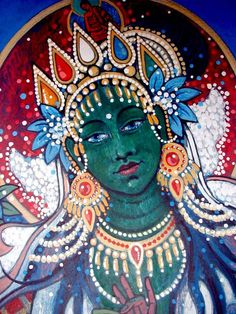 Buddha weekly green tara closeup buddha deity meditational very beautiful green tara expression more thangka paintings traditionalartofnepal fandeluxe Images