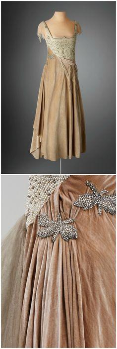 Evening Dress, France, c. 1918-22. Belonged to Marjorie Merriweather Post. Silk velvet, tulle, faux pearls, rhinestones. Photo by Renee Comet/Courtesy of Hillwood Estate, Museum and Gardens. Via WWD.