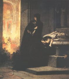 Queens Elisabeth and Mary at the Tomb of King Lajos the Great in 1385 by Sandor Liezen-Mayer, Hungarian, 1839-1898. The oil on canvas is housed in the Hungarian National Gallery in Budapest.