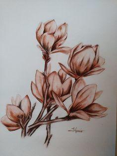 Botanical Line Drawing, Creta, Watercolor Flowers, Leaves, Magnolias, Drawings, Instagram Posts, Painting, Animals