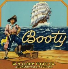 Jacksonville, Florida - Booty Brand Citrus Label (Art Prints available in multiple sizes)