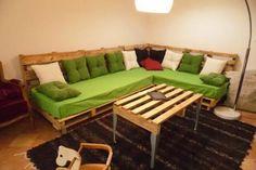 Sofá com colchão e almofadas - 101 Pallets                                                                                                                                                                                 Mais