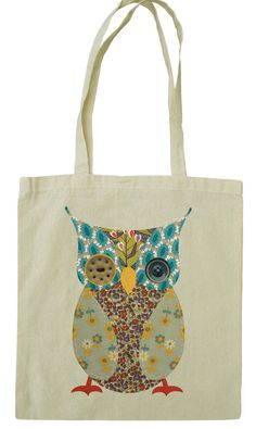 2361a5abefd7 Cute owl cotton tote bag