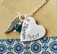 Memorial Necklace, Miscarriage, Pregnancy Loss,Remembrance Long Distance Love Always In My heart Handstamped Necklace , Wing and Heart Charm