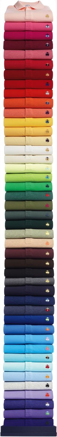 The Brooks Brothers email features a huge stack of polo shirts, in every colour under the sun, it's very long and against the usual 'best practice', but in breaking the rules it communicates the breadth of the product range. Camisa Polo, Brooks Brothers, Foto Still, Email Newsletter Design, Email Newsletters, Email Design Inspiration, Color Inspiration, Web Design, Le Polo