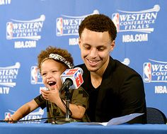 Stephen Curry's Daughter Riley Steals Spotlight at Press Conference - Us Weekly