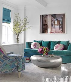 Bold teal colors in the living room. Description from pinterest.com. I searched for this on bing.com/images