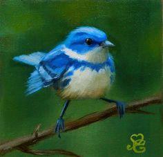"""Daily Paintworks - """"Cerulean Warbler, A Spring Bird"""" - Original Fine Art for Sale - © Marisa Eichman Kupiec"""