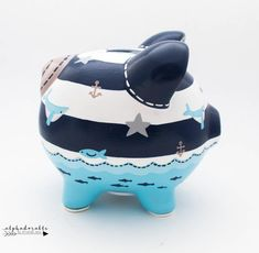 Nautical Striped Personalized Piggy Bank in Navy, Blue and Grey with Whale, Sailboat and Anchor Hand Painted Ceramics, Porcelain Ceramics, The Little Couple, Personalized Piggy Bank, Stroller Blanket, Cute Crafts, Kids Crafts, Must Have Items, Gold Hands