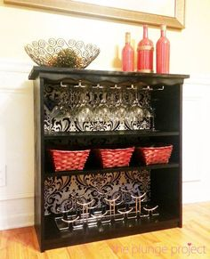 30+ Creative DIY Wine Bars for Your Home and Garden --> DIY Classy Wine Bar from a Cheap Bookshelf