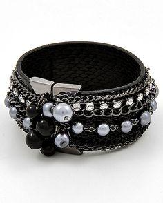 Hematitetone / Black Leatherette / Hematite Acrylic Pearl / Lead Compliant / Magnetic Closure / Band Bracelet