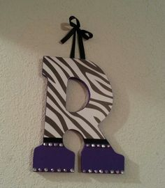 Wooden letter - Purple and zebra print initial