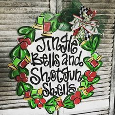 Wonderful Screen Jingle Bells Shotgun Shells Christmas Wreath Wood Cut Out Door Hanger Concepts Your individual door hanger Sure, the classic is needless to say the door pendant, where on the fron Christmas Front Doors, Christmas Door Decorations, Christmas Wood, Christmas Wreaths, Christmas Door Hangers, Christmas Crafts, Alabama Door Hanger, Door Hanger Printing, Wood Cut