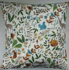 Shabby Chic Woodland Animal Cushion Cover 16  x 16  Rabbits Deer Birds Squirrel