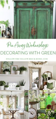 Hello dear readers, it's time for another post in my Pin Away Wednesdays series! Since March is just a. Farmhouse Decor, Decor, Spring Decor, Painted Furniture, Green Painted Furniture, Interior Decorating Styles, Cottage Decor, Home Decor, Green Decor