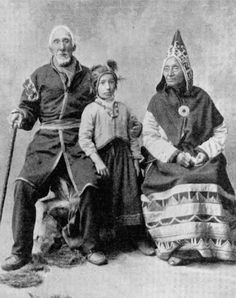 Christopher Paul with his wife Margaret Babaire-Paul and their granddaughter - Mi'kmaq - before 1902