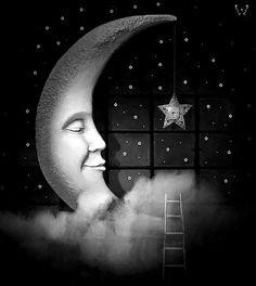 A kiss from the moon by Yaga K. Original in colour. Sun Moon Stars, Sun And Stars, Moon Pictures, Moon Pics, Vintage Moon, Moon Illustration, Paper Moon, Good Night Moon, Moon Magic