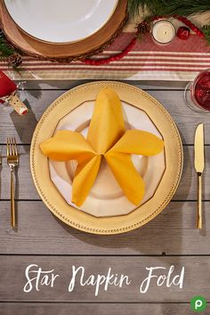 All you need to brighten up your Christmas table is a set of yellow napkins and our folding guide. Check out how easy it is to add a little cheer to your big holiday meal.