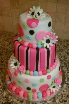 Lorraine's actual cake looked very much like this except turquoise blue instead of all the pink.  Julie did 2 tiers & it was fantastic!!!!  2/14