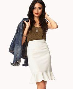Ruffled Pencil Skirt & Denim Jacket