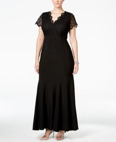 2886f913a1d Betsy   Adam Plus Size Lace Mermaid Gown Lace Mermaid
