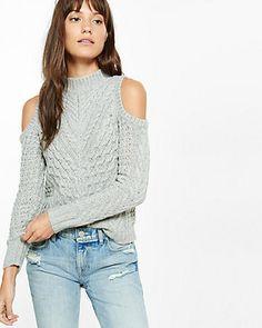 cold shoulder mock neck cable knit sweater
