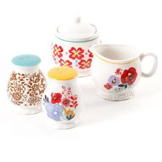 The Pioneer Woman Flea Market Decorated Sugar and Creamer with Salt and Pepper Shakers - Walmart.com