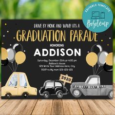 Printable Drive By Graduate Class of 2020 Invitation DIY Graduation Celebration, Graduation Party Invitations, Graduation Party Decor, Diy Invitations, Digital Invitations, Graduation Ideas, Graduation Caps, Grad Cap, College Graduation