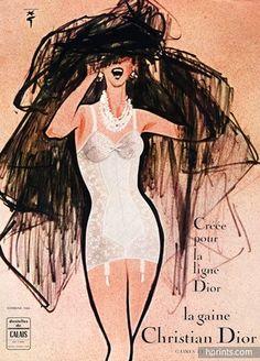 Christian Dior (Lingerie) 1960 René Gruau (Version C) Girdle Dentelles de Calais