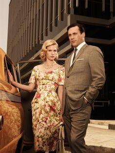 Mad Men Betty Draper Floral Dress scoop neck tulip skirt