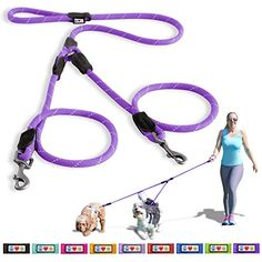 Pawtitas Pet 2 Dog Leash Medium  Large Reflective Rope Leash 6 ft Purple * Find out more about the great product at the image link. (This is an affiliate link)