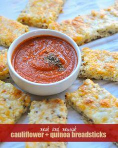 Cauliflower & Quinoa Cheesy Breadsticks with Homemade Marinara // via Nosh and Nourish #recipe #blendtecfit