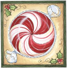 Peppermint candy, would look good painted on a glass block.