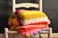 Vintage Afghan Blanket Pink Bright Sunny by drowsySwords, Etsy $60.00