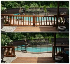 Child Safe Sliding Deck Gate: Open and Closed