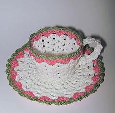 Crochet homemade Mother's Day gift, crochet tea cup free pattern