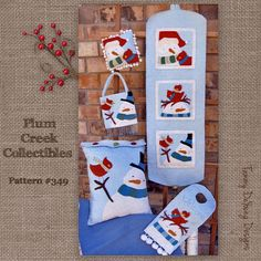 Winter Snowman Banner, Pillow & Ornament Pattern #349