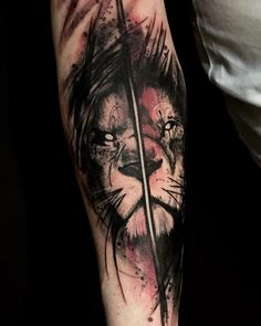 Lion Forearm Tattoos, Leo Tattoos, Black Ink Tattoos, Badass Tattoos, Body Art Tattoos, Tatoos, Lion Tattoo Sleeves, Sleeve Tattoos, Black Watercolor Tattoo