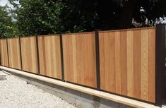 Exterior Wall Design, Fence Design, Privacy Walls, Privacy Fences, Metal Gates, Metal Roof, Modern Landscaping, Outdoor Landscaping, Metal Fence Posts