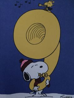 'Snoopy the German Tuba Player' and Woodstock, an Old card from Snoopy.
