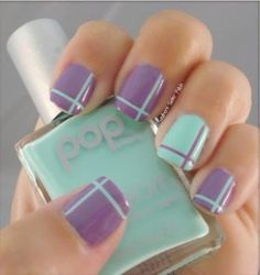 cool purple and blue nail art