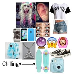 """""""Chilling•––––•"""" by alainna-1 ❤ liked on Polyvore featuring :CHOCOOLATE, Converse, With Love From CA, JanSport, women's clothing, women's fashion, women, female, woman and misses"""