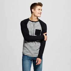 e656ce5bc27 Men s Long Sleeve Striped Raglan Thermal Charcoal - Mossimo Supply Co.™  Mossimo Supply Co