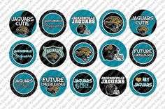 """Jacksonville Jaguars Cute Girly NFL 1"""" Round Circles Bottle Cap Images Cupcake Toppers Instant Download Digital Emailed 4x6"""