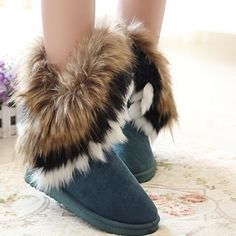layered multicolored long fur