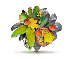 Wendy McAllister Brooch: Samba Vitreous enamel on sterling silver, oxidized sterling silver 3.37 x 3.87 x 1.12 inches