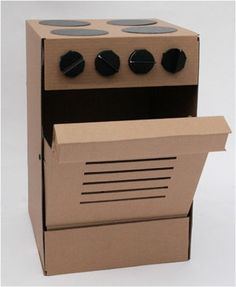 cardboard cooker for children's kitchen cardboard toy by Pappdorf, €21.50